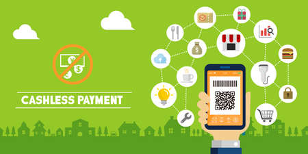 Cashless payment ( QR code payment , smartphone payment ) vector banner illustration