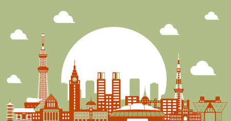 Tokyo skyline flat vector illustration. Tokyo landmark buildings  2 tone color Çizim
