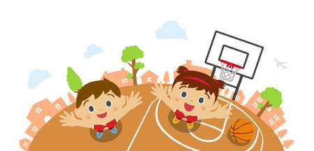 Kids (children  boy and girl) looking up into the sky (wearing basketball uniform). Vector cartoon illustration. Basketball court background (birds eye view).