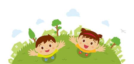 Dzieci (dzieci / chłopiec i dziewczynka) patrząc w niebo (widok z lotu ptaka). Ilustracja kreskówka wektor.