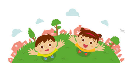 Kids (children  boy and girl) looking up into the sky (birds eye view). Vector cartoon illustration. 向量圖像