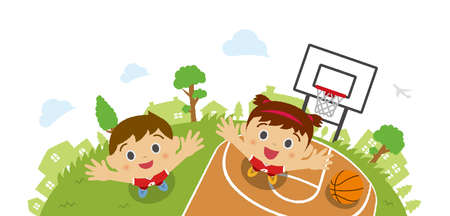 Kids (children / boy and girl) looking up into the sky (wearing basketball uniform). Vector cartoon illustration. Basketball court background (bird's eye view). Ilustracja
