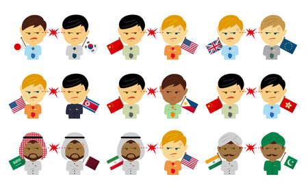 Political conflict between nations. Vector flat illustration set (maleupper body ).