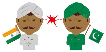Political conflict between nations. Vector flat illustration (maleupper body ). India vs Pakistan