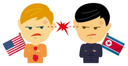 Political conflict between nations. Vector flat illustration (male/upper body ). USA vs North Korea