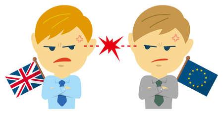 Political conflict between nations. Vector flat illustration (male/upper body ). UK vs EU