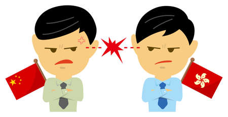Political conflict between nations. Vector flat illustration (male/upper body ). China vs Hong Kong