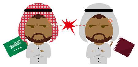 Political conflict between nations. Vector flat illustration (maleupper body ). Saudi Arabia vs Qatar Çizim