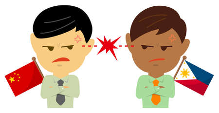 Political conflict between nations. Vector flat illustration (maleupper body ). China vs. Philippines Çizim