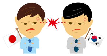 Political conflict between nations. Vector flat illustration (male/upper body ). Japan vs South Korea