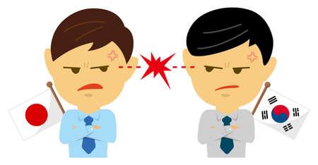 Political conflict between nations. Vector flat illustration (maleupper body ). Japan vs South Korea