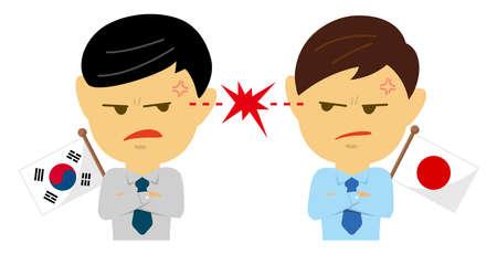 Political conflict between nations. Vector flat illustration (maleupper body ). South Korea vs Japan