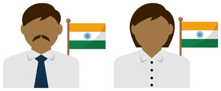 Faceless Business Person with National Flags  India. Flat vector illustration.