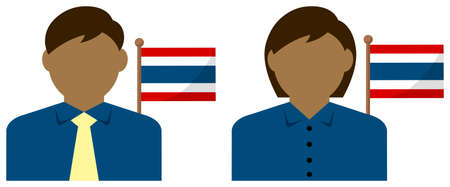 Faceless Business Person with National Flags  Thailand. Flat vector illustration. Illustration