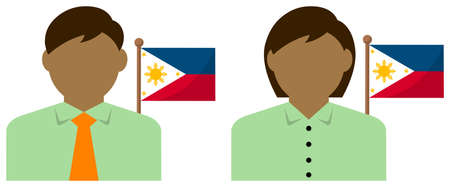 Faceless Business Person with National Flags  Philippines. Flat vector illustration.