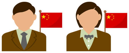 Faceless Business Person with National Flags  China. Flat vector illustration. Illustration