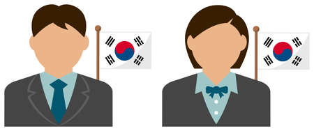 Faceless Business Person with National Flags  South Korea . Flat vector illustration. Illustration