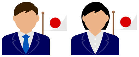 Faceless Business Person with National Flags  Japan . Flat vector illustration.