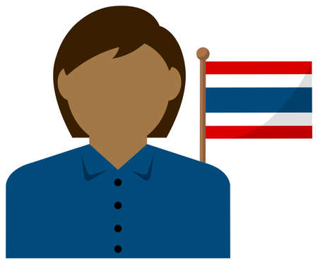 Faceless Business Woman with National Flags  Thailand . Flat vector illustration. Illustration
