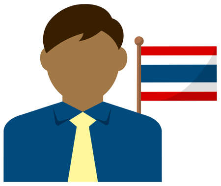 Faceless Business Man with National Flags  Thailand . Flat vector illustration.