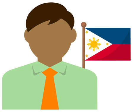 Faceless Business Man with National Flags  Philippines. Flat vector illustration.