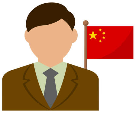 Faceless Business Man with National Flags China. Flat vector illustration.  イラスト・ベクター素材