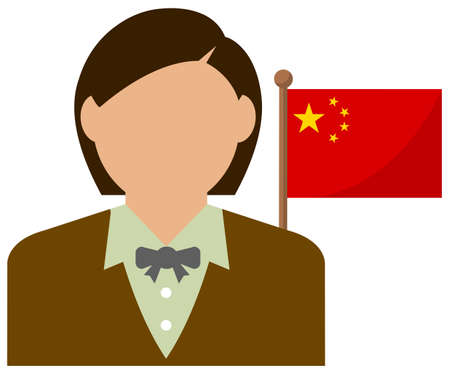 Faceless Business Woman with National Flags China. Flat vector illustration.