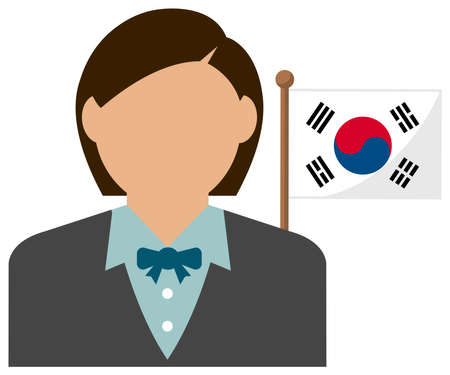 Faceless Business Woman with National Flags  South Korea. Flat vector illustration.  イラスト・ベクター素材