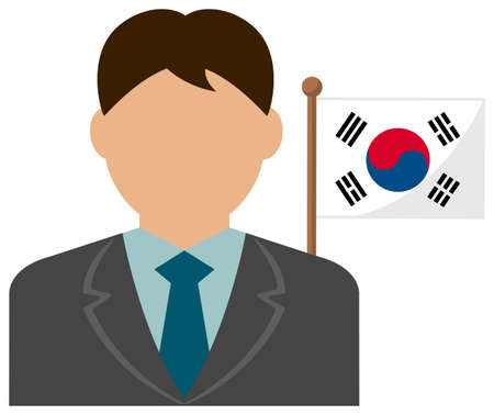 Faceless Business Man with National Flags  South Korea. Flat vector illustration.