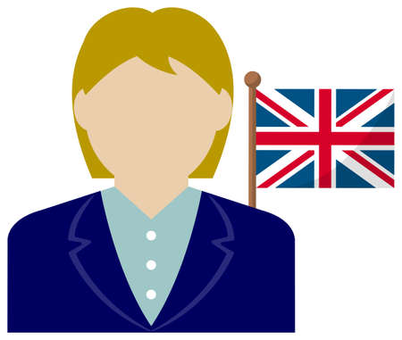 Faceless Business Woman with National Flags  the UK . Flat vector illustration.  イラスト・ベクター素材