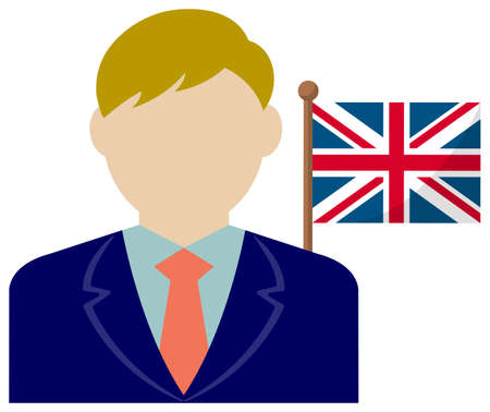 Faceless Business Man with National Flags / the UK . Flat vector illustration. Standard-Bild - 132722342