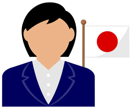 Faceless Business Woman with National Flags / Japan . Flat vector illustration. Standard-Bild - 132722343