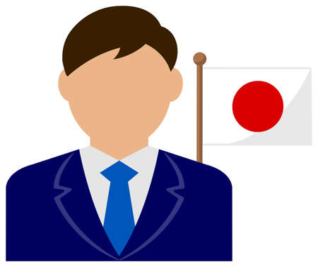 Faceless Business Man with National Flags  Japan . Flat vector illustration.