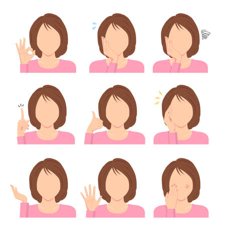 Faceless Young Woman Vector Illustration Set  Hand Gesture Variation.  イラスト・ベクター素材
