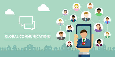 Video call / Global communion through mobile phone circle vector banner illustration / Hand holding smartphone. Standard-Bild - 133101180