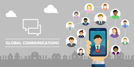 Video call  Global communion through mobile phone circle vector banner illustration  Hand holding smartphone.