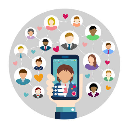 SNS  live chat app  streaming TV circle vector banner illustration. Hand holding smartphone.