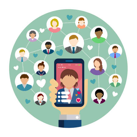 SNS / live chat app / streaming TV circle vector banner illustration. Hand holding smartphone. Standard-Bild - 133101196