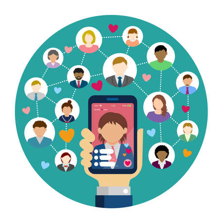 SNS / live chat app / streaming TV circle vector banner illustration. Hand holding smartphone.