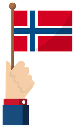 Holding the national flag in hand , flat vector illustration / Norway