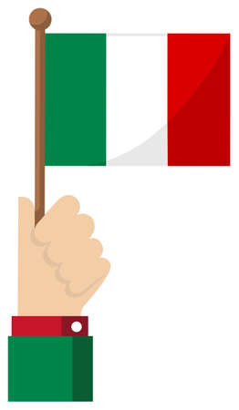 Holding the national flag in hand , flat vector illustration / Italy