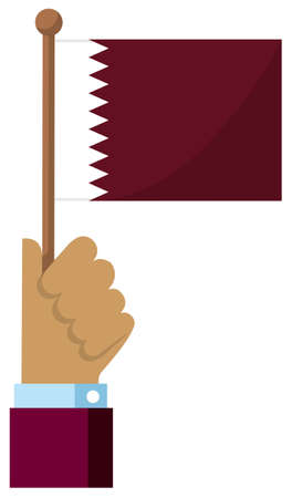 Holding the national flag in hand , flat vector illustration / Qatar
