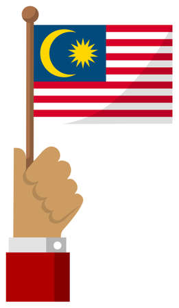 Holding the national flag in hand , flat vector illustration / Malaysia  イラスト・ベクター素材