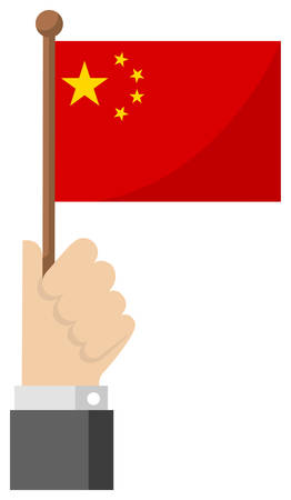 Holding the national flag in hand , flat vector illustration / China