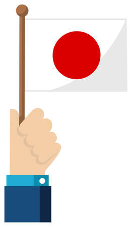 Holding the national flag in hand , flat vector illustration / Japan