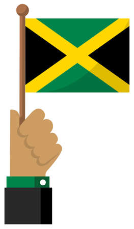 Holding the national flag in hand , flat vector illustration / Jamaica