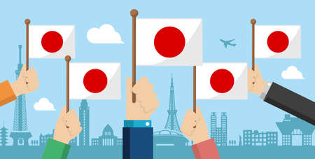 People holding the national flag in hand , vector banner illustration / Japan