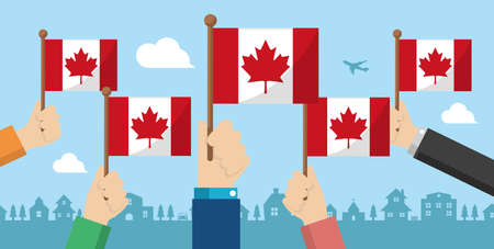 People holding the national flag in hand , vector banner illustration  Canada