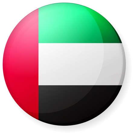 Icône de drapeau de pays circulaire (insigne de bouton d'illustration) / EAU Vecteurs