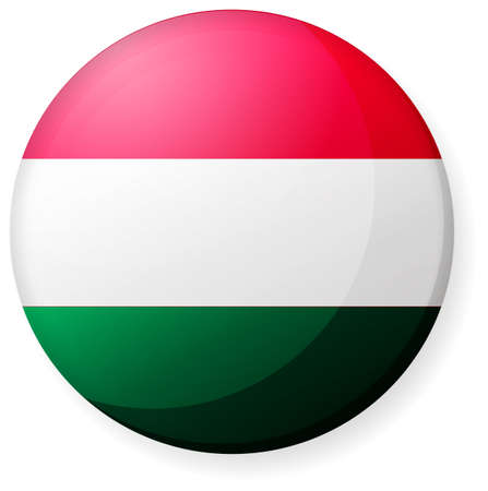 Circular country flag icon (illustration button badge ) / Hungary